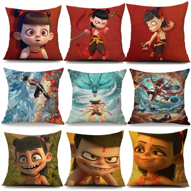 NE ZHA Pillowcase Decorative Pillowcase Cartoon Seat Cushion Home I am the destiny Pillow Case Pillowcase Pillow Cover