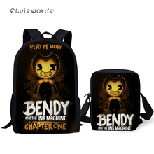 ELVISWORDS Fashion 2PC Set Backpacks Bendy and the Ink Machine Pattern School Bags Students Backpack/Flaps Bag/Pen
