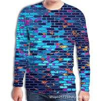 Большой Размеры осень Для Мужчин's футболка творческий квадратный кирпичная стена 3D принт с длинным рукавом Для мужчин футболки с рисунками...