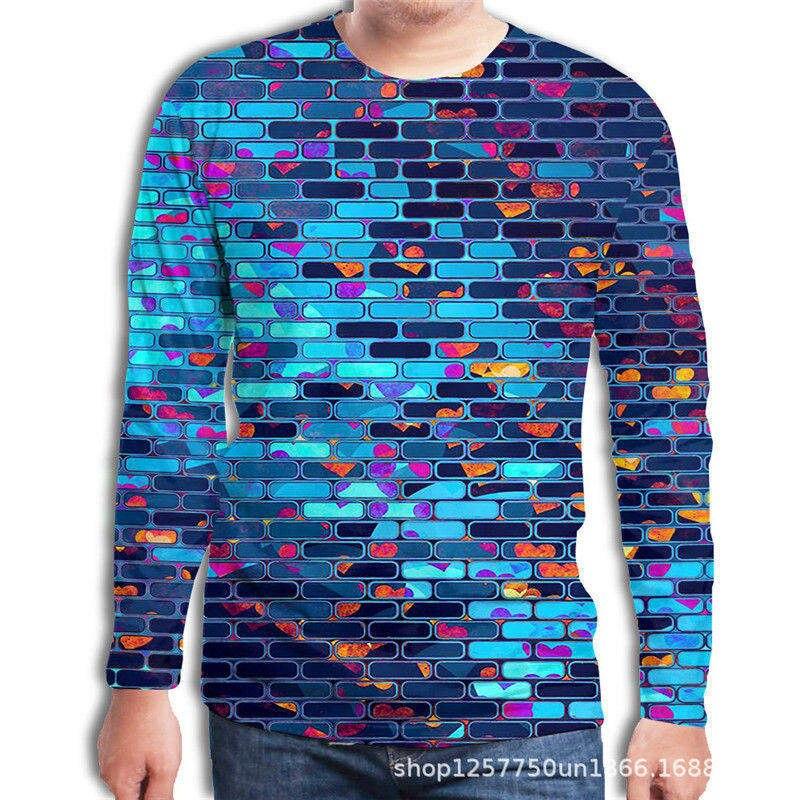 Large Size Autumn Men's Tee Shirt Creative Square Brick Wall 3D Print Long Sleeve Men's T-Shirt Fashion O-Neck Casual Men Shirt