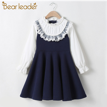 Bear Leader School New Girls Clothing Dress Baby Casual Dress Kids Patchwork Fall Clothes Children Long Sleeve Dress Blue White fhadst new striped patchwork character girl dresses long sleeve cute mouse children clothing kids girls dress denim kids clothes
