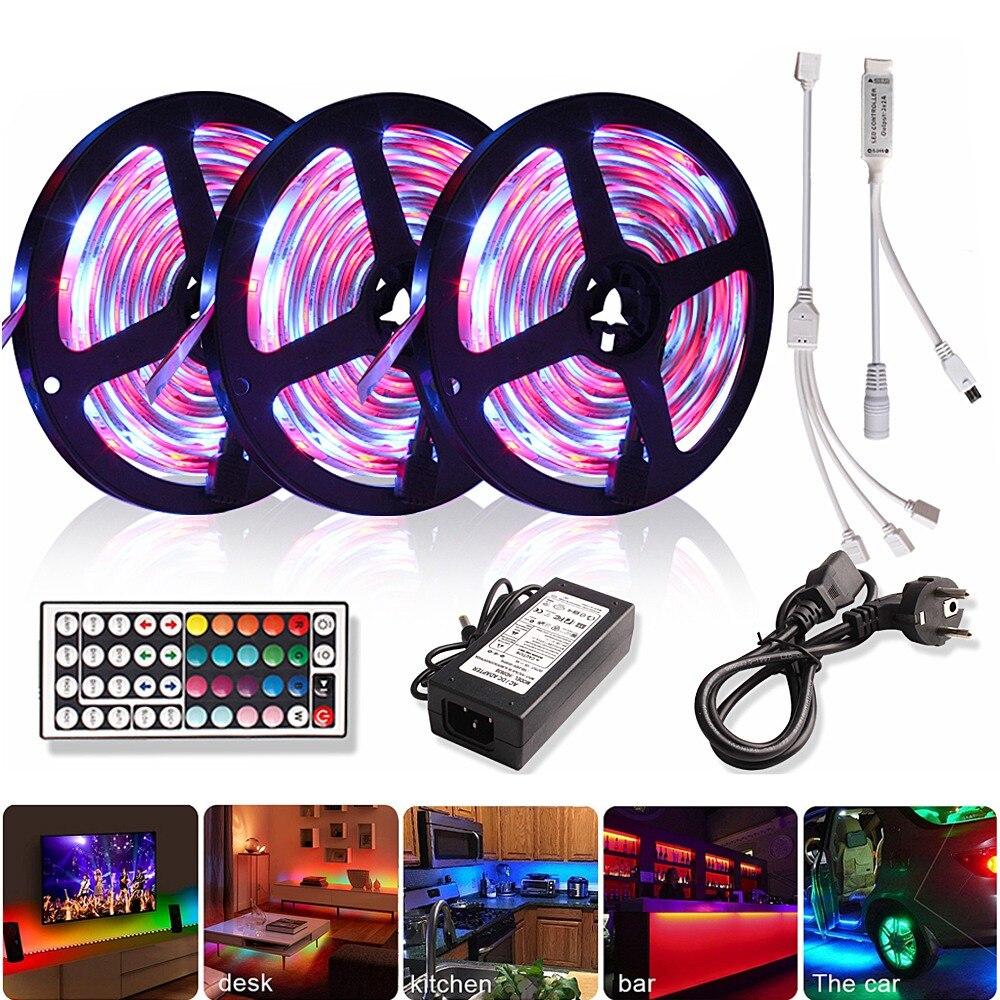 5M 10M 15M 2835 RGB Led Strip Light DC 12V RGB Diode Tape Flexible Ribbon Tira Led Light Strips With IR Remote Control + Adapter
