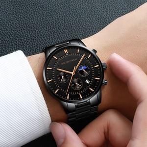 Image 5 - GOLDENHOUR luksusowa marka zegarki męskie pełny stalowy zegarek biznesowy wodoodporny zegarek kwarcowy męski męski zegar Relogio Masculino