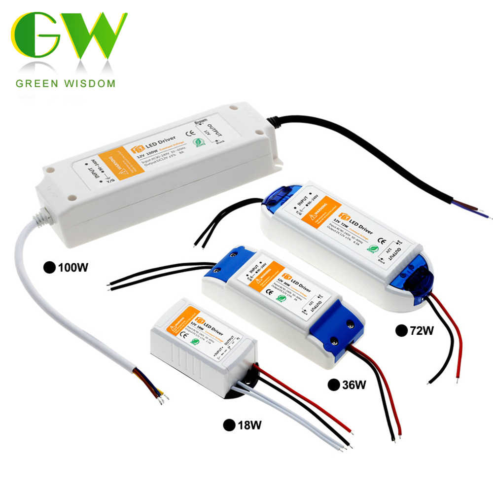 DC12V 18W 36W 72W 100W Verlichting Transformers Hoge Kwaliteit LED Driver voor LED Strip 12V voeding.