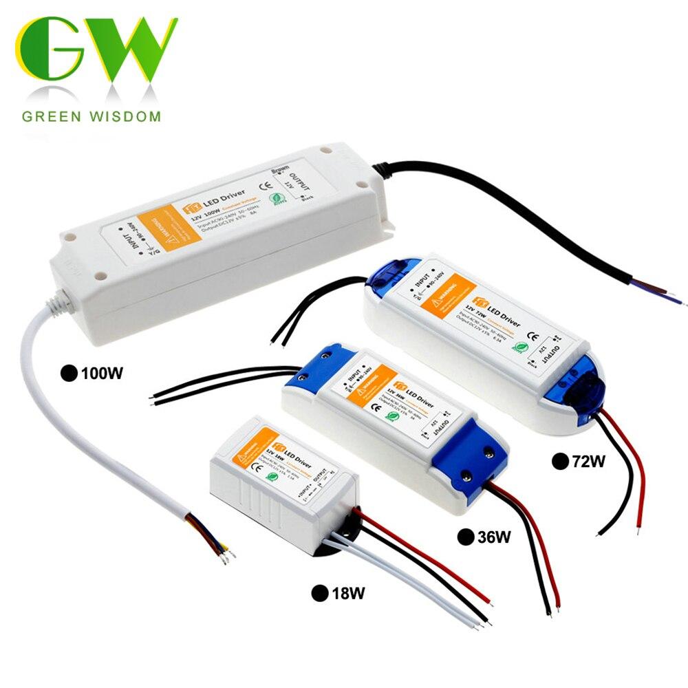 Dc12v 18 w 36 w 72 w 100 w iluminação transformadores de alta qualidade led driver para led strip lights 12 v adaptador de alimentação.
