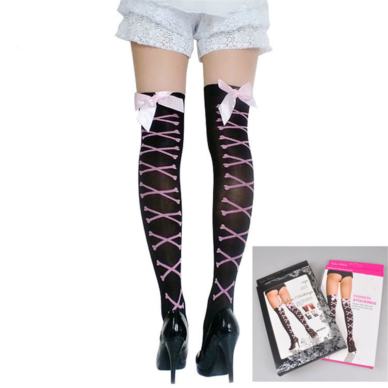 1PCS Women's Sexy Stockings Bow Lace Fishnet Thigh High Stockings Nylon Over The Knee Socks Sexy Stockings for Women Black Pink