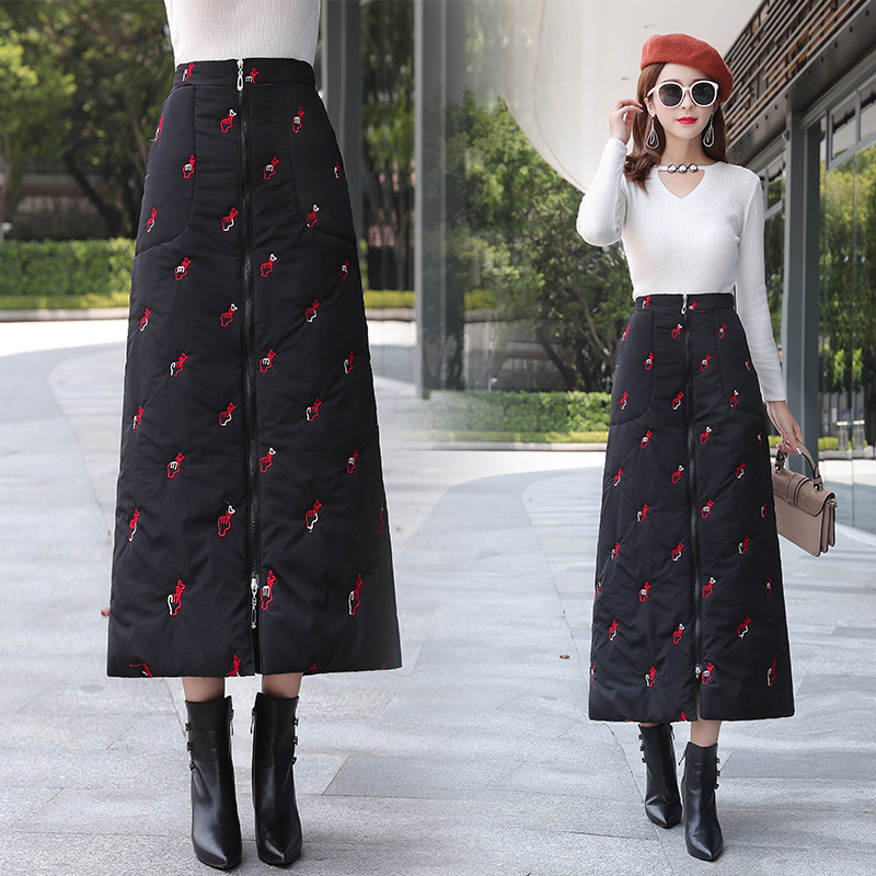 Autumn WOMEN'S Dress Down Feather Embroidered Skirt Winter Versatile Winter Thick Cotton Skirt Skirt
