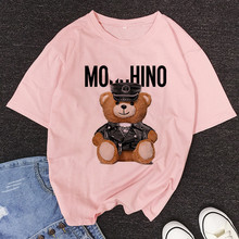 bear Pattern printing T-shirt Summer White pink 90S Harajuku Girl T-shirt Fashion Streetwear Tee Tops Streetwear,Drop Ship