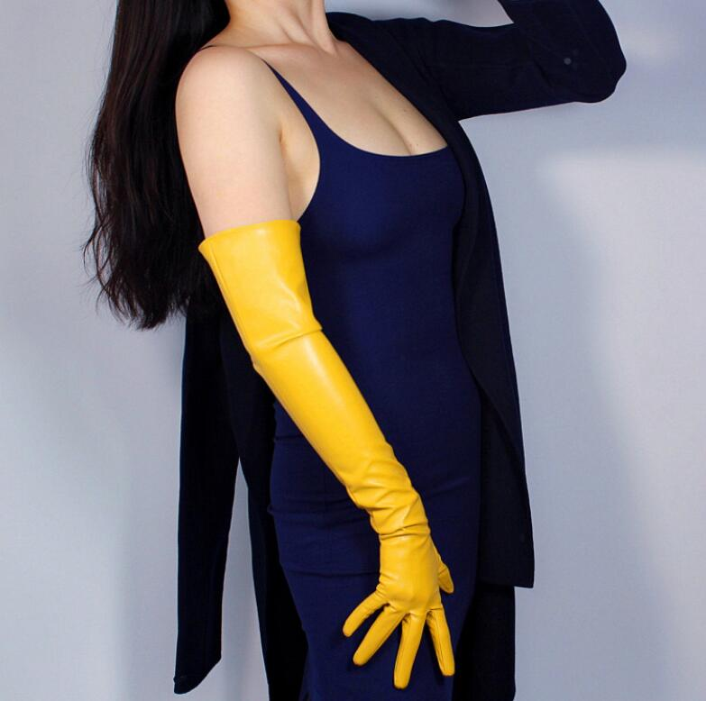 Women's Fashion Yellow Color Sexy Slim Faux Pu Leather Glove Lady's Club Performance Formal Party Leather Long Glove 60cm R2087