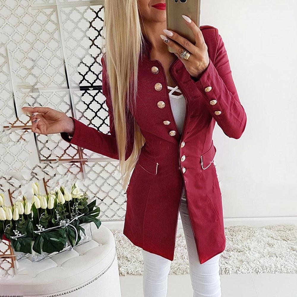 2019 Winter Autumn Women Casual Suit Coat Business Long Sleeve Jacket Outwear Office Ladies Fashion Plus Size Slim Coat