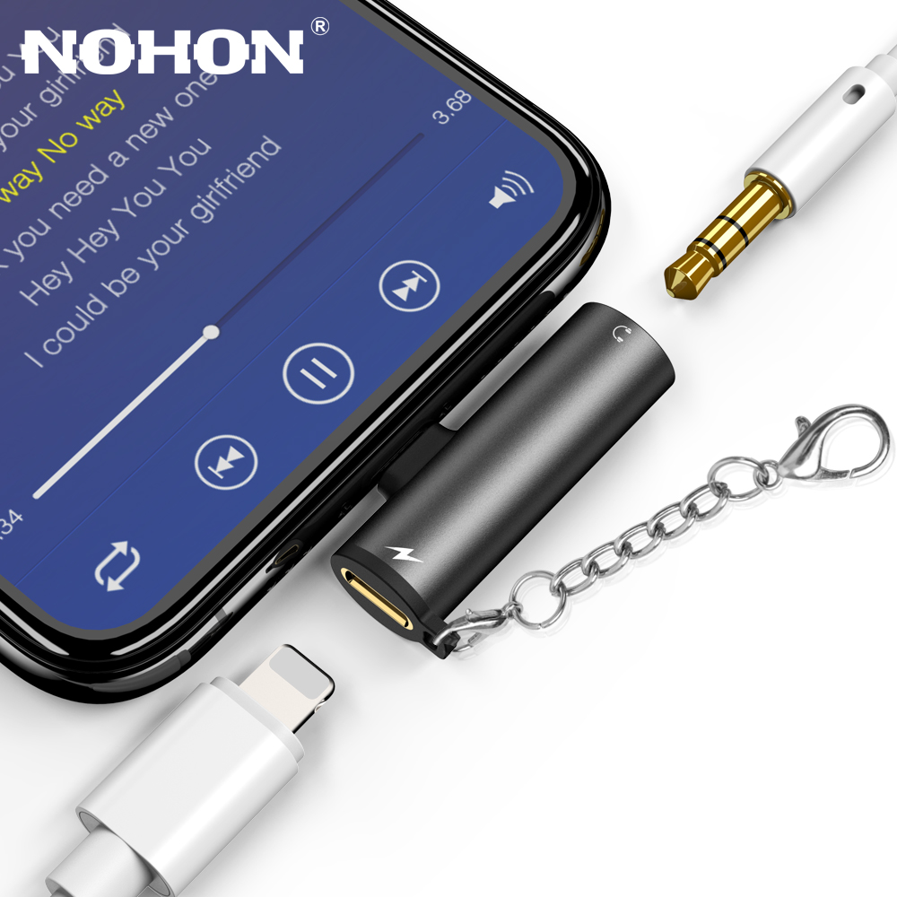 <font><b>For</b></font> Lightning to 3.5mm Jack <font><b>Headphone</b></font> Earphone Aux Audio OTG Adapter <font><b>For</b></font> <font><b>iPhone</b></font> 11 Pro XS MAX <font><b>X</b></font> XR 7 8 Plus Splitter <font><b>Connector</b></font> image