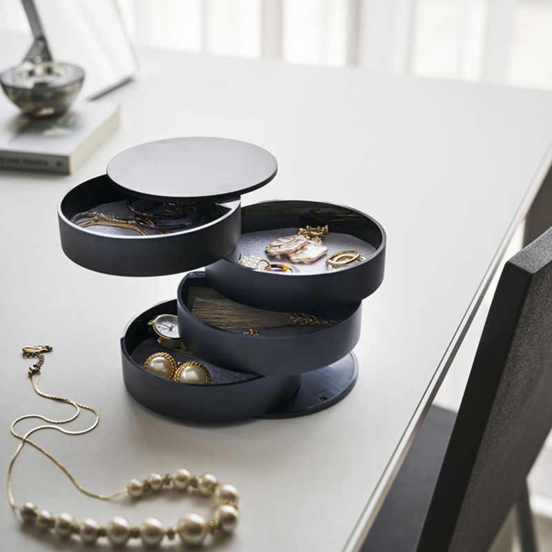 4 طبقات ABS مجوهرات من السيليكون صندوق تخزين لامع ماكياج المنظم الإبداعية حلقة قلادة ووتش مجوهرات مربع 3 ألوان