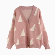 pink geometric sweet cardigan