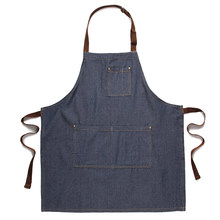 fashion chef denim apron Kitchen Antifouling and cleaning aprons unisex pinafore Coffee shop work cloths Sleeveless bib