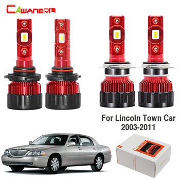 Cawanerl 4 X Car 60W LED Lamp Headlight High Low Beam 9000LM White H7 9005 12V For Lincoln Town Car 2003-2011