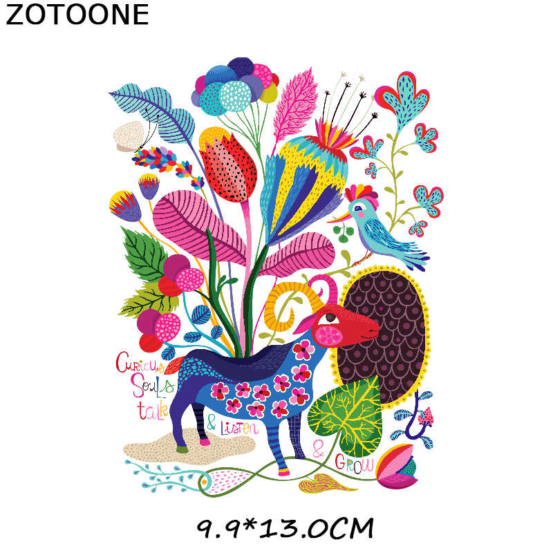 Zotoone Besi Pada Hewan Warna-warni Rusa Bunga Patch Transfer untuk Pakaian T-shirt Transfer Panas Appliques DIY Burung Stiker E