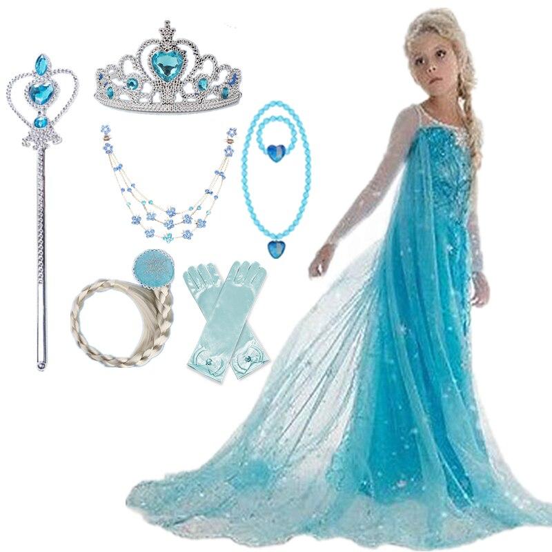 Детское платье для девочек, вечерние принцессы на Хэллоуин, Снежная королева, детское маскарадное платье, Маскировка для ролевых игр
