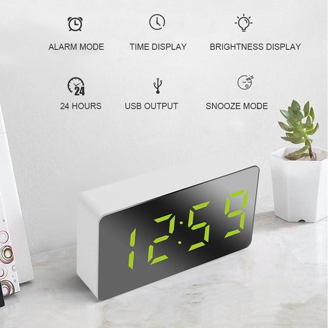 LED Multifunctional Mirror Clock Digital Alarm Snooze Display Time Night LCD Light Table Desktop USB 5v/No Battery Home Decor 5
