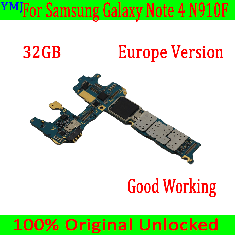 With Android System For <font><b>Samsung</b></font> <font><b>Galaxy</b></font> <font><b>Note</b></font> <font><b>4</b></font> N910F <font><b>Motherboard</b></font>,32GB Original unlocked for <font><b>Note</b></font> <font><b>4</b></font> N910F Logic board,Good Working image