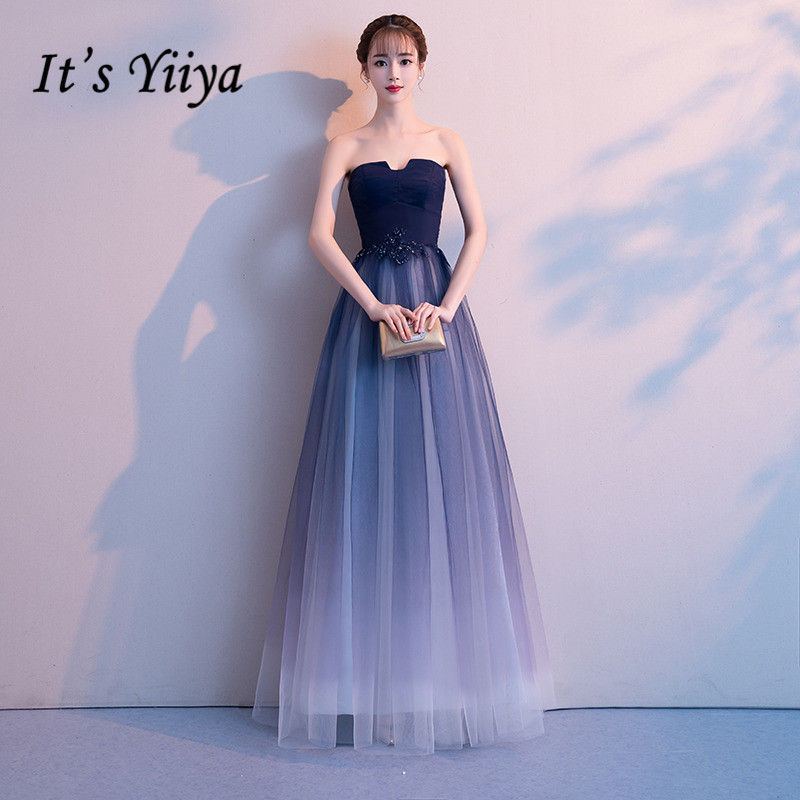 Evening     Dress   It's Yiiya R221 Elegant Gradient Navy Blue Strapless Women Party Gowns 2020 Cystal Long A-Line Robe De Soiree
