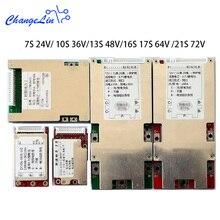 EBike 7S 24V 10S 36V 13S 48V 16S 17S 64V 21S 72Vแบตเตอรี่Li Ion Ion BMS PCMแพ็ค 15A 30A 50A 60A