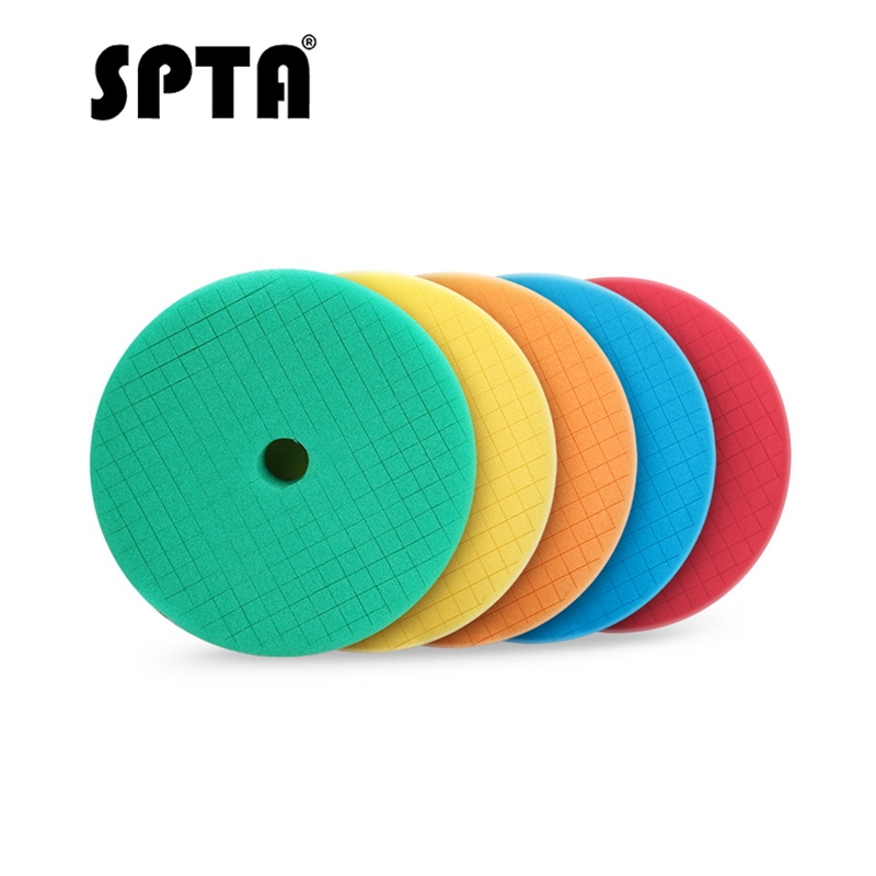 SPTA 5pcs Pack 6 Inch Sponge Polishing Pads For 5 Inch DA/RO Polisher Car Polish Buffing Pads Abrasive Sponge Polishing Disk