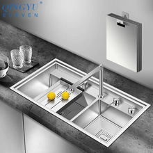 Kitchen Sink Large-Size 304-Stainless-Steel Three-Cover Hidden 4mm Brushed Cloaking Innovative