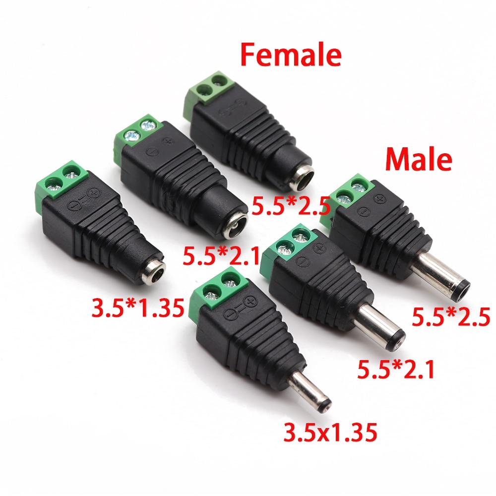 Conector de tomada dc fêmea macho, conector de 2.1mm x 5.5mm 2.5mm x 5.5mm 1.35mm x 3.5mm adaptador de tomada dc sem solda, mm, 12v 24v para cctv