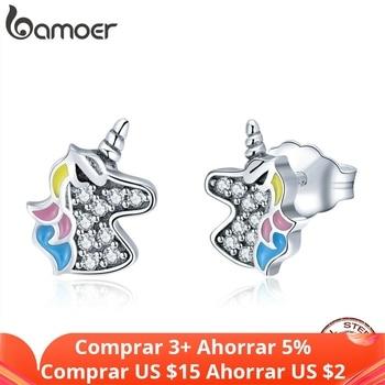 bamoer 925 Sterling Silver Dazzling Licorne Memory Stud Earrings for Women & Girls Sterling-Silver-Jewelry SCE426 - discount item  35% OFF Fine Jewelry