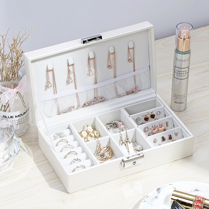 Women Portable Jewelry Makeup Organizers Travel Cosmetic Lipstick Collection Box Necklaces Earrings Bracelet Display Accessories Makeup Organizers     - title=