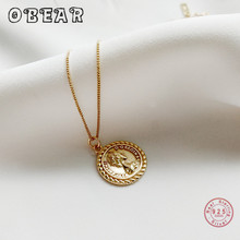 OBEAR 100% 925 Sterling Sliver Elizabeth Queen Necklaces Gold Color Round Coin Disc Choker Pendant Necklaces peri sbox 925 sterling sliver face pendant chokers necklace minimalist coin disc choker necklaces chic layered chain necklaces