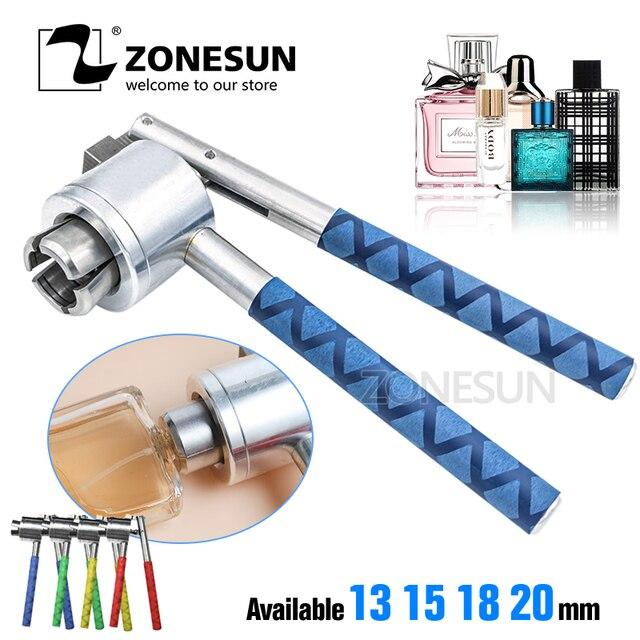 Zonesun 13 15 20mm manual de aço inoxidável frasco perfume spray crimper mão tampando crimper selo tampando ferramenta