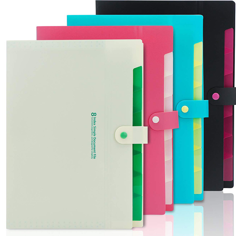 Expanding File Folders, 4PCS Plastic A4 Expandable File Folder With 8 Pockets, Letter Size Accordion Document Paper File Organiz