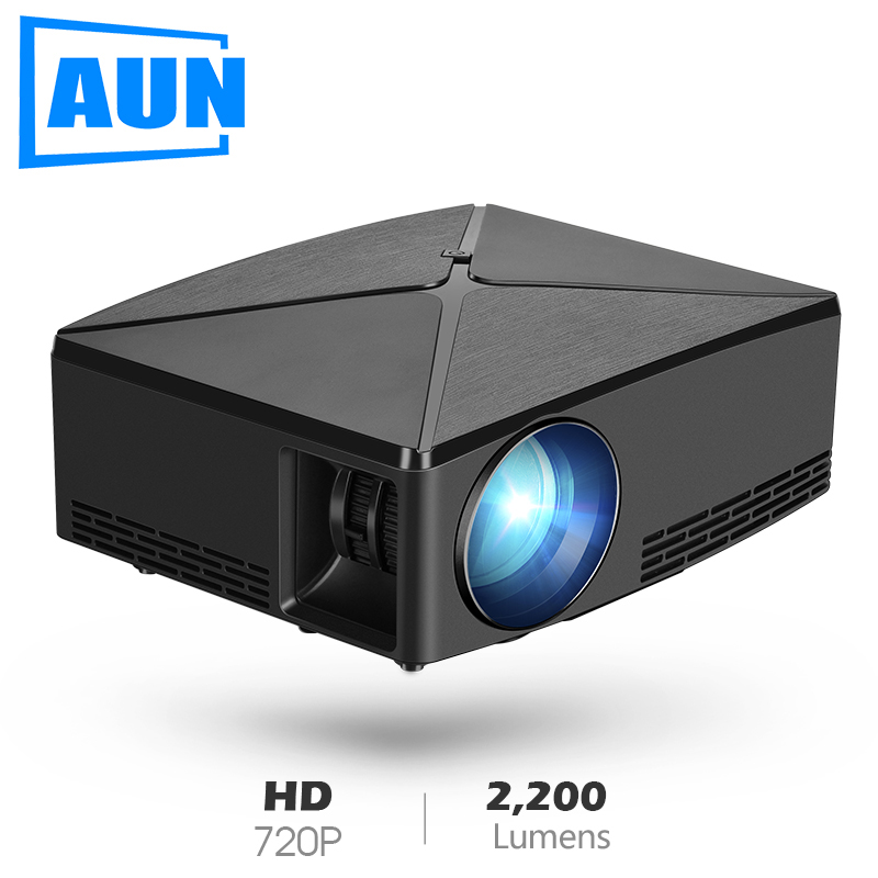 AUN MINI Projector C80, 2200 Lumens 1280x720P,Optional Android C80UP 6.0 WIFI Proyector, LED Beamer for 4K Video 3D Home Cinema.(China)