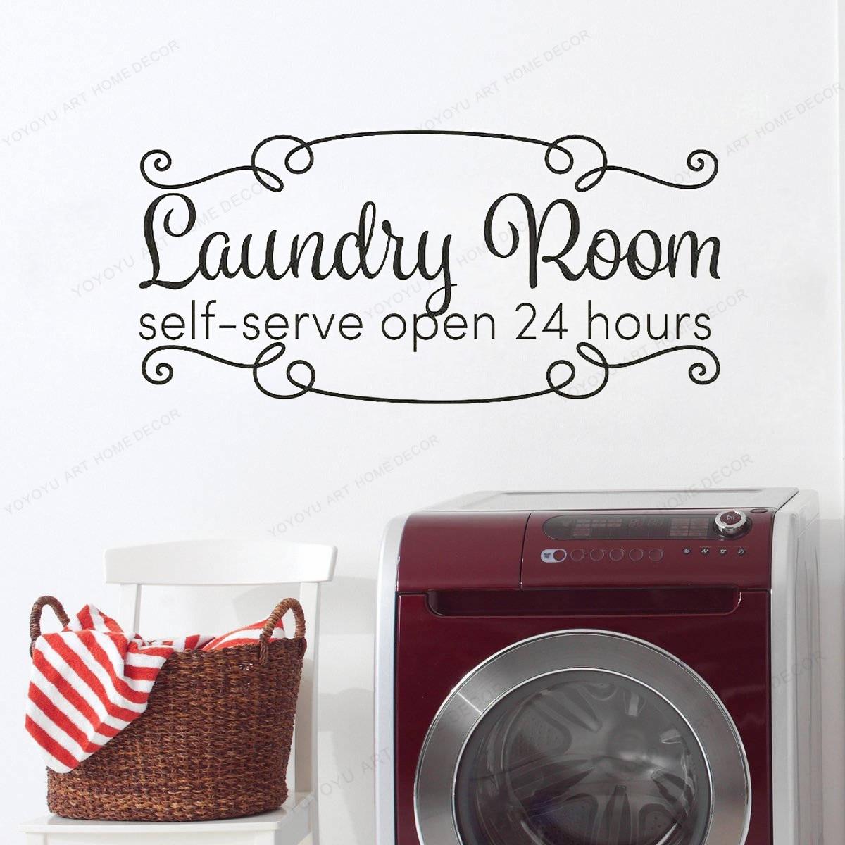 Self Serve Laundry Open 24 Vinyl Decal Home Wall Decor