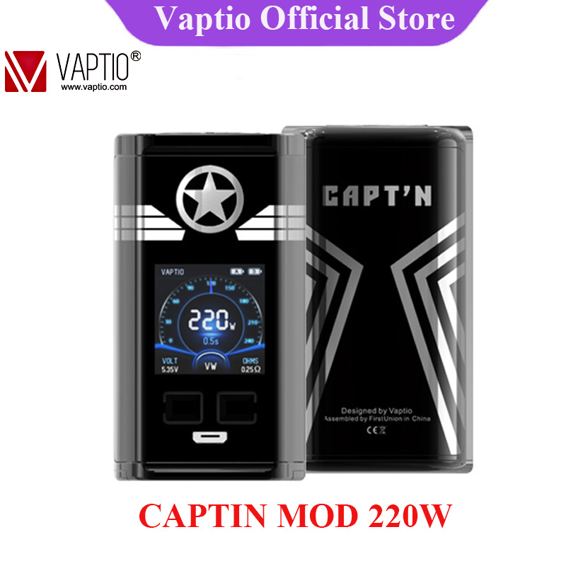 Original Vaptio CAPT'N 220W Mod Electronic Cigarette Vape Mod With 1.3inch OLED Screen Support VW 18650 Battery (No Batteery)