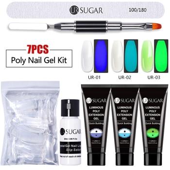 Azúcar UR 7 unids/set Poly Kit de uñas de Gel, Kit de extensión de Gel para uñas, esmalte brillante para principiantes, conjunto de Gel acrílico para uñas artísticas