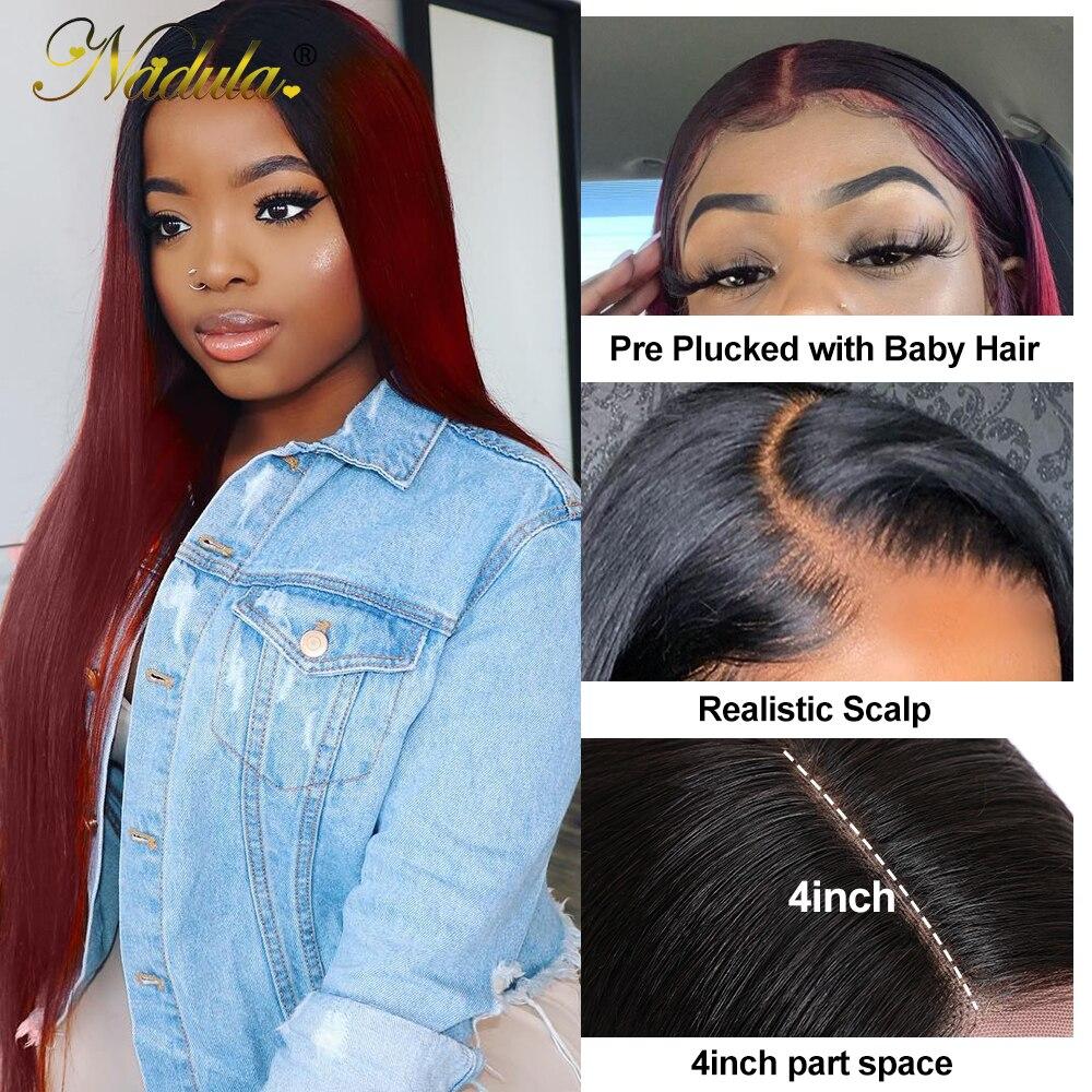 4x4 Lace Closure Wigs 1B/99J Straight Closure Wig  Brazlian Virgin Hair Wigs 10-20inch  Wig Pre Plucked 3