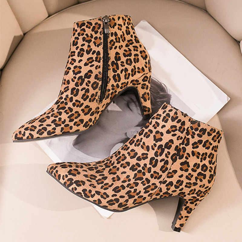Vrouwen Wees Teen Sexy Enkellaars Dames Suede Leopard Zip Mode Korte Laarzen Vrouwelijke Dunne Hoge Hakken Vrouwen Klassieke schoenen