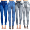Sexy Faux Jeans Leggings Women Stretch Printed Short Leggins Plus Size Calf-Length Pants Summer Breeches High Waist Jeggings 2