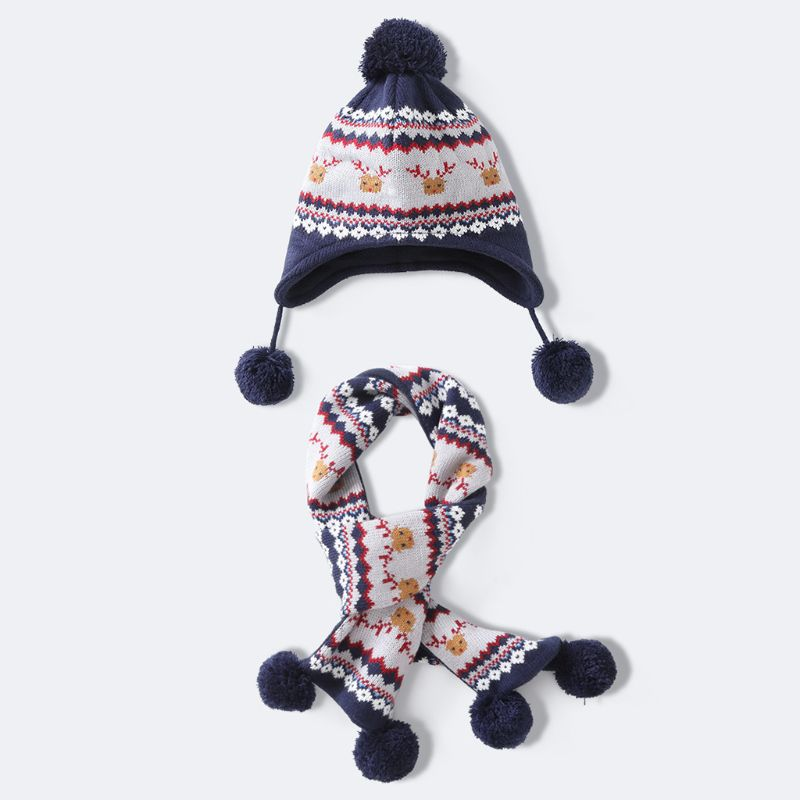 2020 New Kids Baby Winter Christmas Reindeer Pompom Earflap Beanie Cap Long Scarf Gloves