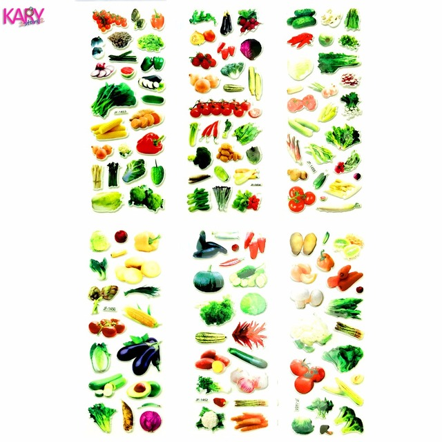 6 Sheets Real Vegetables Greens Greengrocery Tomatoes Scrapbooking Bubble Stickers Gifts Reward Kids Toys Factory Direct Sales