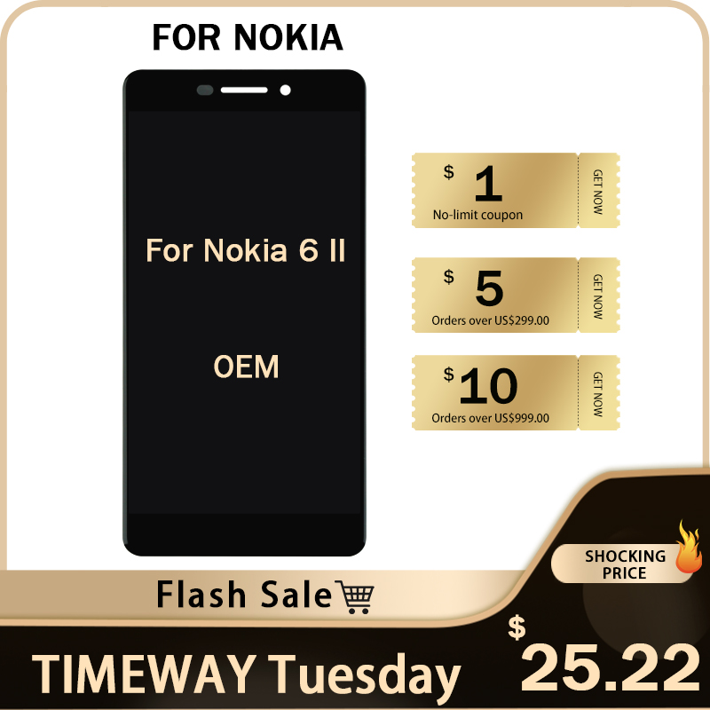TIMEWAY Flash Sale For <font><b>Nokia</b></font> 6 II <font><b>6.1</b></font> 2018 LCD Display <font><b>Touch</b></font> <font><b>Screen</b></font> Digitizer Without Frame Assembly Alibaba China With gifts image