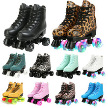 Women Men 21 Choice Pu Microfiber Roller Skates Skating Shoes Sliding Inline Skates Roller Sneakers Training Scrub Row 4 Wheel