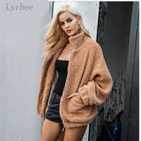 Lychee Teddy Jacket Coat Plus Size Long Sleeve Outerwear Turn Down Short Coat Female Faux Fur Coat Women Autumn Winter Fluffy