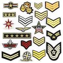 Patchs de rang militaire vêtements, Badges à rayures brodés, autocollants de médaille pour vêtements @ G