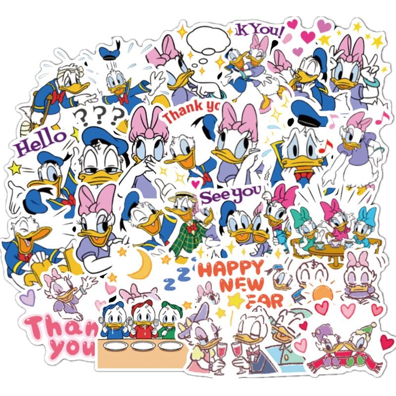 80pcs Donald Duck With Mickey Mouse Cartoon Character Sticker PVC Graffiti Waterproof Sticker Suitcase Guitar