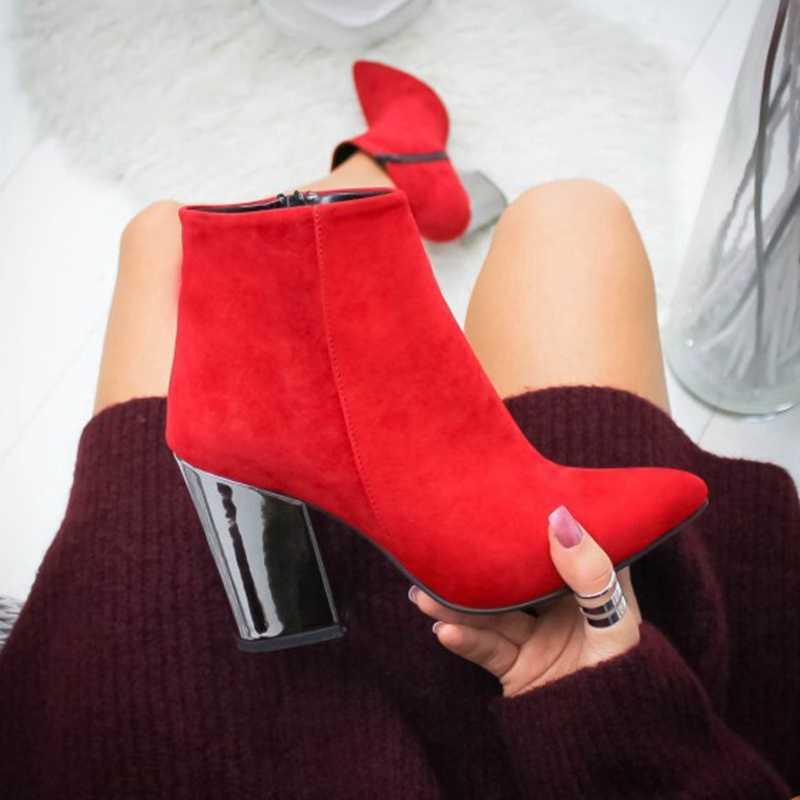 """Puimentiua Nữ Giày Nữ Mắt Cá Chân Máy Bơm Đàn Mũi Giày Chắc Chắn Thu Mùa Xuân 2019 Mới Giày Cao Gót Botas Mujer """"Trang Sức Giọt"""