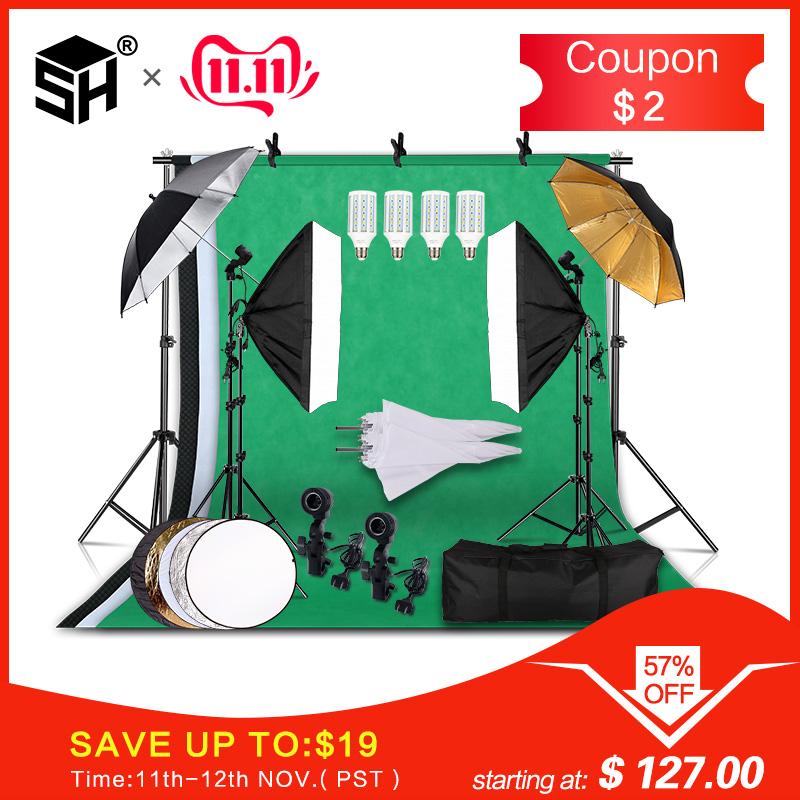 Professional Photography Lighting Equipment Kit with Softbox Soft Umbrella background stand Backdrops Light Bulbs Photo Studio-in Photo Studio Accessories from Consumer Electronics