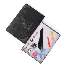 Multicolor European Retro Feather Pen Teachers Day Gift Boxed a Pair Of Three-Color Stickers + A Spoon Student Stationery Set